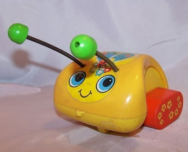 Image 1 of Vintage 1974 Fisher Price Love Bug Pull Toy, Flip Feet