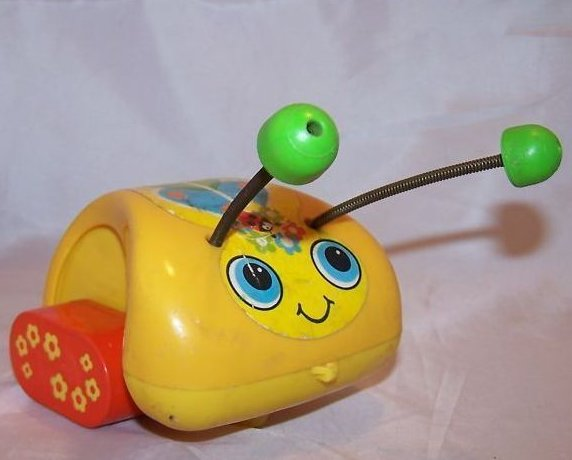 Image 2 of Vintage 1974 Fisher Price Love Bug Pull Toy, Flip Feet