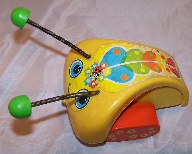 Image 3 of Vintage 1974 Fisher Price Love Bug Pull Toy, Flip Feet
