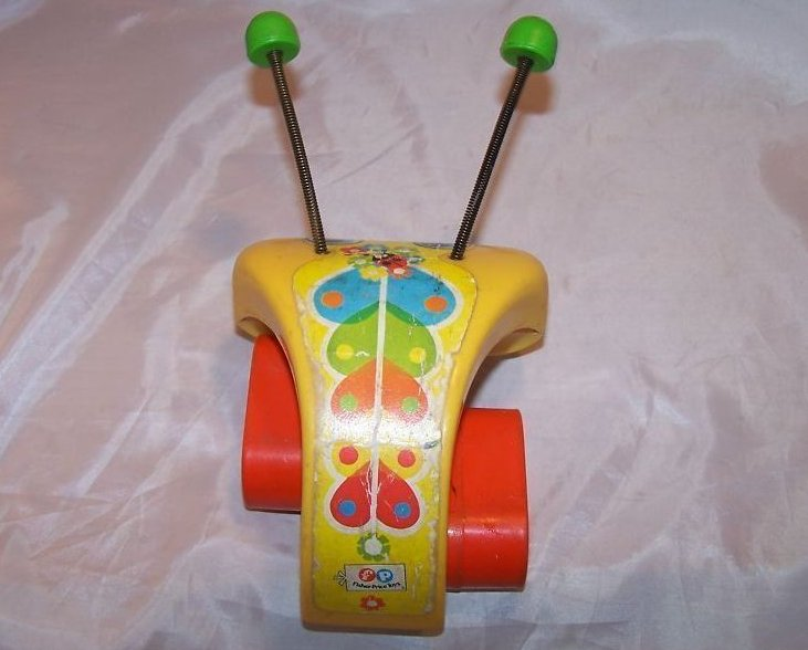 Image 4 of Vintage 1974 Fisher Price Love Bug Pull Toy, Flip Feet
