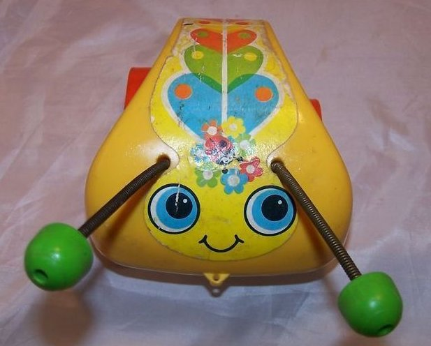 Image 5 of Vintage 1974 Fisher Price Love Bug Pull Toy, Flip Feet