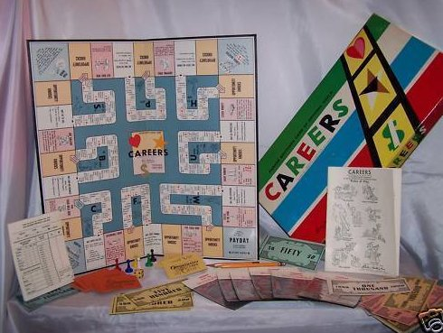 1958 Parker Brothers Careers Game, Has Orig Price Tag