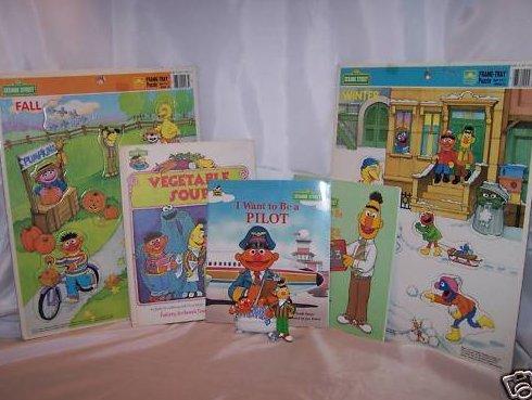 Sesame Street Bert and Ernie 1 Figurine, 2 Puzzles, 3 Books