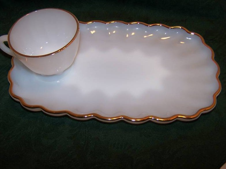 Image 1 of Snack Plate, Teacup, White Milk Glass w Gold