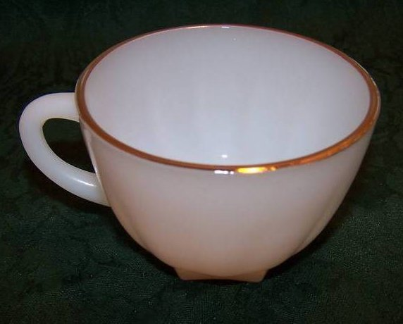 Image 4 of Snack Plate, Teacup, White Milk Glass w Gold