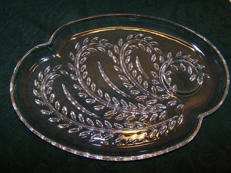 Image 1 of Snack Plate, Teacup, Federal Glass, Homestead Leaf Pattern