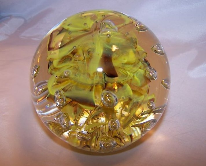 Image 0 of Glass Globe Paperweight Dynasty Gallery Yellow Brown