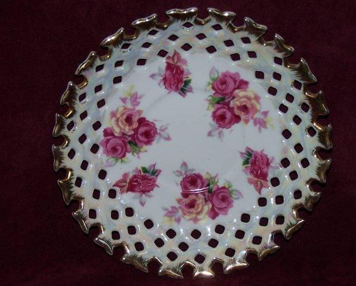 Napco Rose Gold Edge Basket Weave Plate Saucer Dish 181