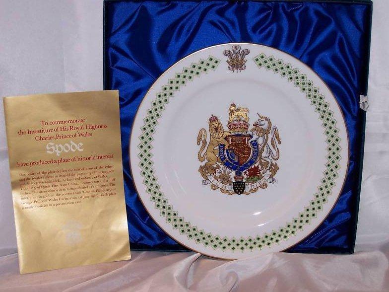 Image 3 of 1969 Prince Charles Caernarvon Spode Plate, Orig Box