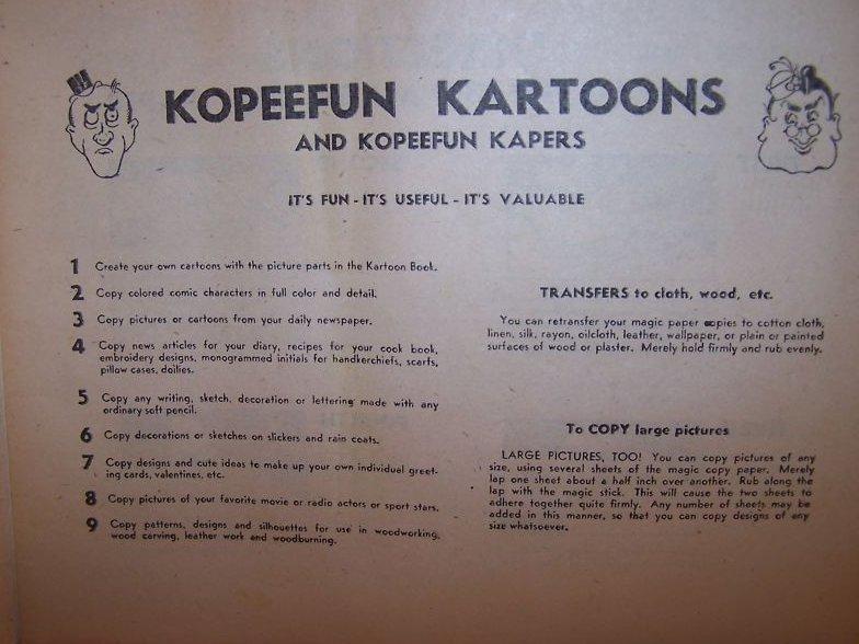 Image 3 of Kopeefun Magic Copy Book Copies Cartoons, Pictures 1940