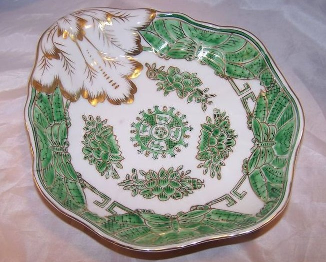 Green and Gold Dish with Locust, Water Lily Lilies, China