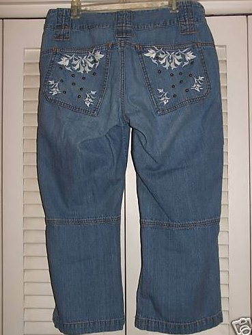 Express Womens Size 8 Capris with Embroidery and Brads