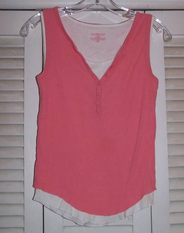Juniors XS GH Bass & Co Pink, White Layered Tank Shirt