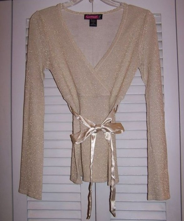 Juniors Sz S, Say What, Long Sleeve Gold Shirt with Belt