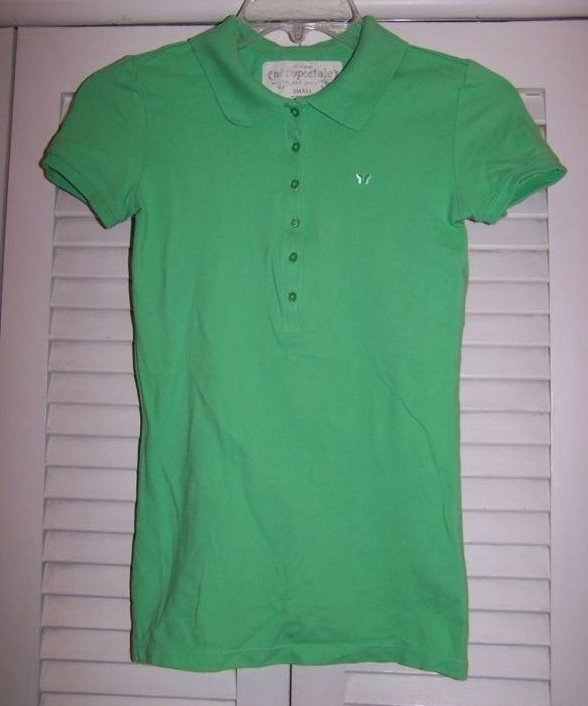 Green Butterfly Aeropostale Collared Shirt