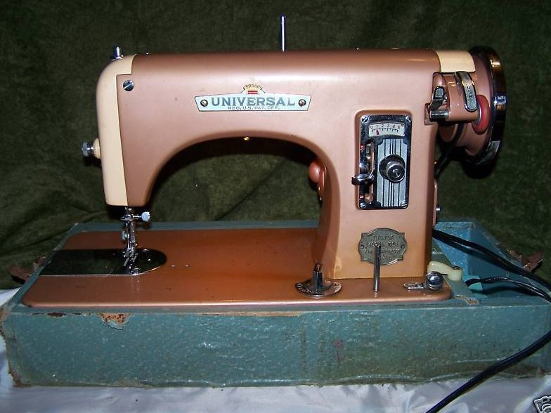 Universal Deluxe Model SDL Sewing Machine, Copper Color