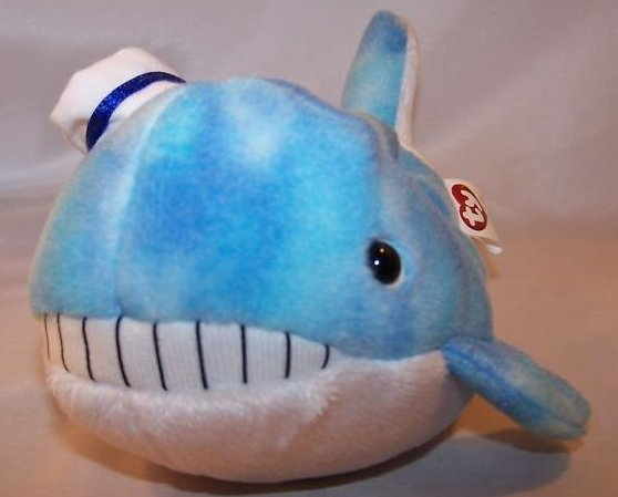 ty captain whale beanie baby stuffed plush w 2 books