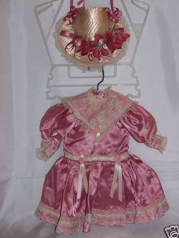 Pink Lace and Rose Doll Dress, Hat, House of Dolls