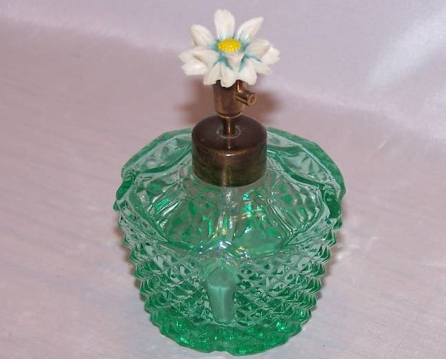 Perfume Bottle, Green Glass Faceted Atomizer, Daisy Top