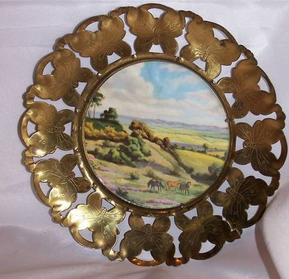 Brass Butterfly Framed Horse Picture, England, Vintage