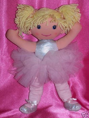 Ballerina Doll Silver Top Pink Tutu Soft Plush Stuffed