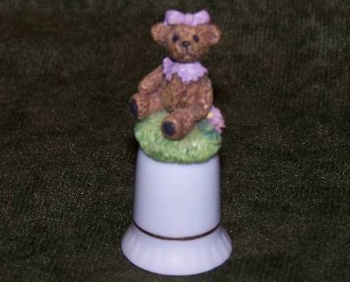 Thimble Bear w Flowers, Grass, Porcelain