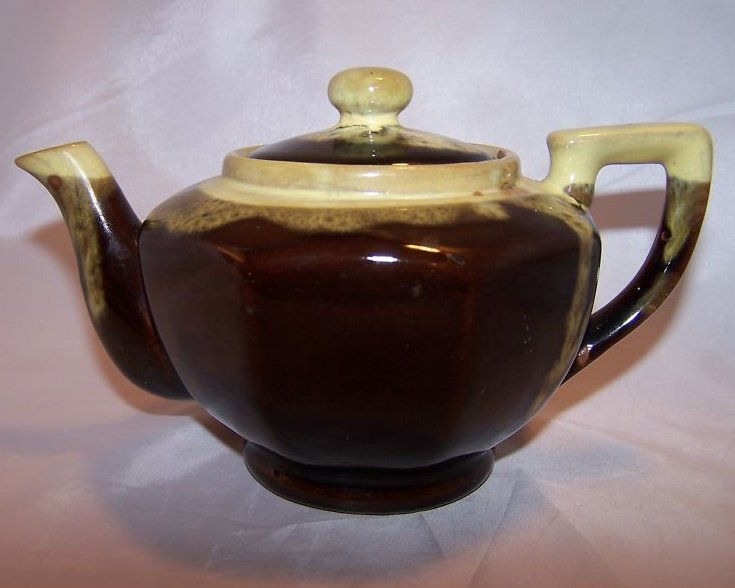 Brown Glaze w Green Dripwear Teapot, Tea Pot