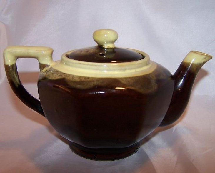 Image 2 of Brown Glaze w Green Dripwear Teapot, Tea Pot
