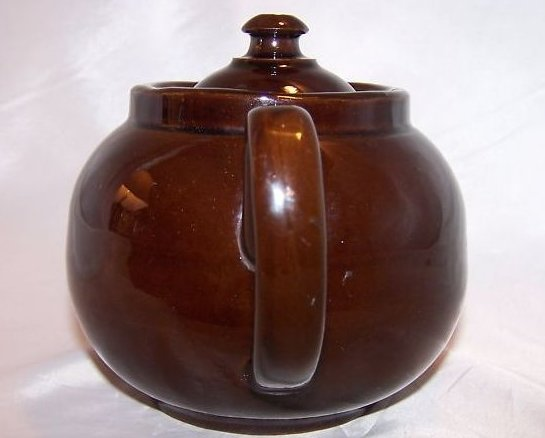 Image 1 of 2 C Dark Brown Teapot, Tea Pot w Knobbed Lid, England