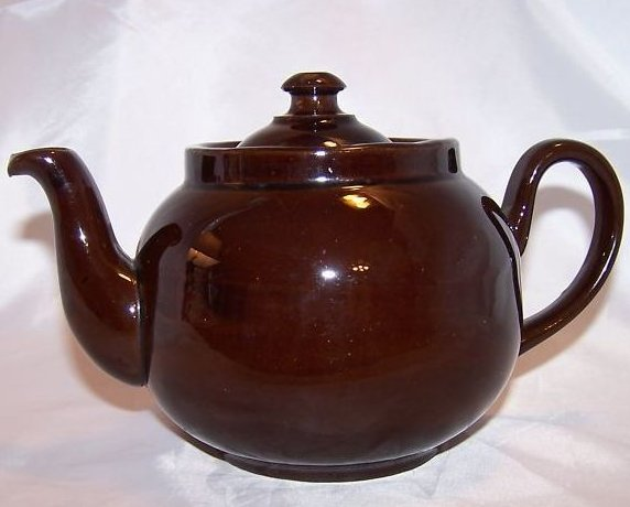 Image 2 of 2 C Dark Brown Teapot, Tea Pot w Knobbed Lid, England