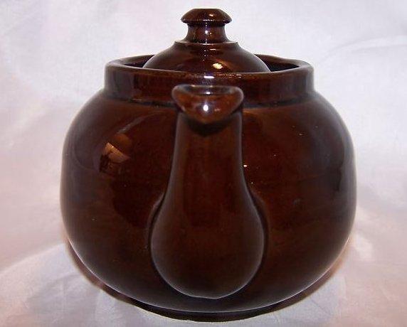 Image 3 of 2 C Dark Brown Teapot, Tea Pot w Knobbed Lid, England