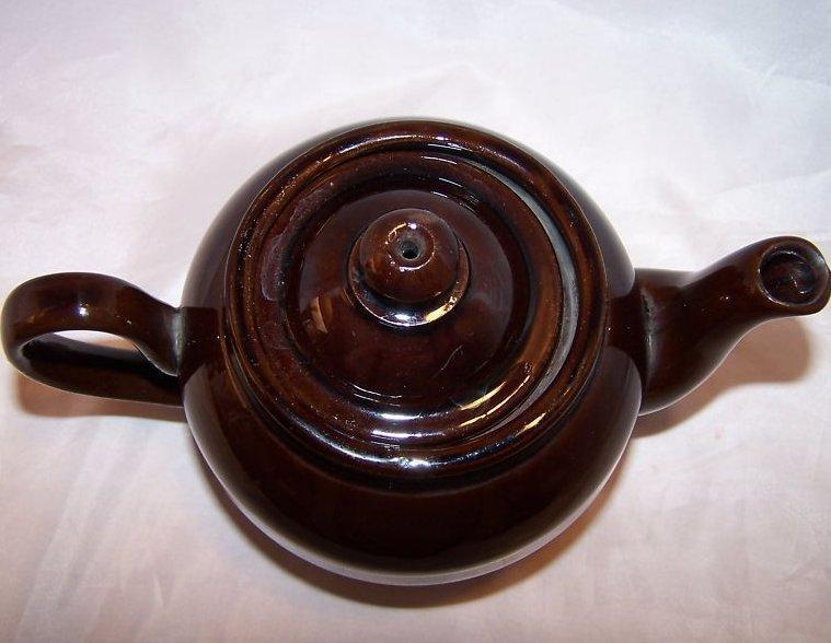 Image 4 of 2 C Dark Brown Teapot, Tea Pot w Knobbed Lid, England