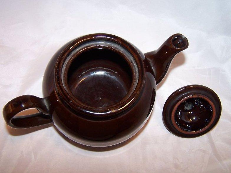 Image 5 of 2 C Dark Brown Teapot, Tea Pot w Knobbed Lid, England