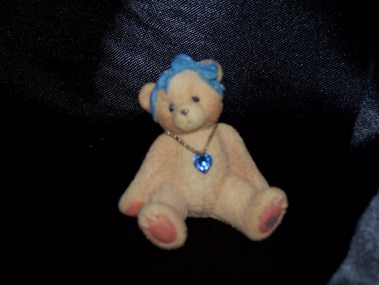 Cherished Teddies with Blue Rhinestone, Hair Bow