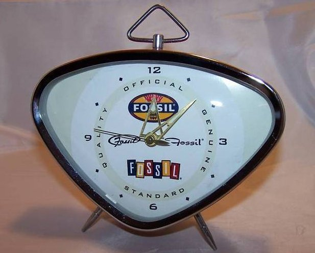 Retro Fossil Key Wound Red Alarm Clock