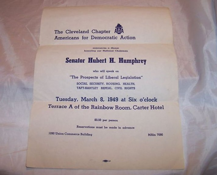 Hubert Humphrey Flyer for Cleveland ADA Dinner, 1949