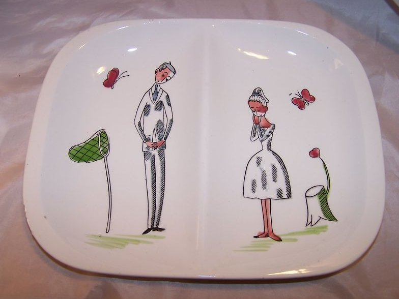 Plate w Flirting Couple, Japan, Wreath and Shamrock