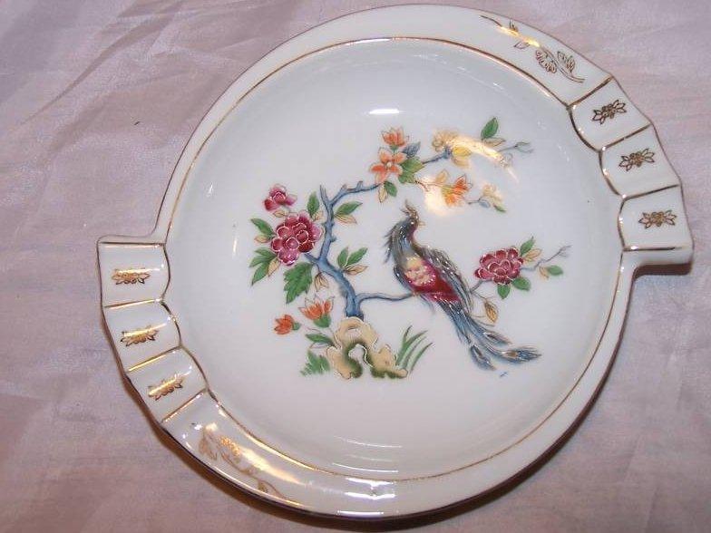 Bird Flower Ashtray Ash Tray Pin Dish Japan Wreath and Shamrock