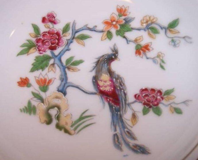 Image 1 of Bird Flower Ashtray Ash Tray Pin Dish Japan Wreath and Shamrock