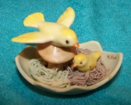 Bird Chick Mushroom in Nest, Signed, Easter