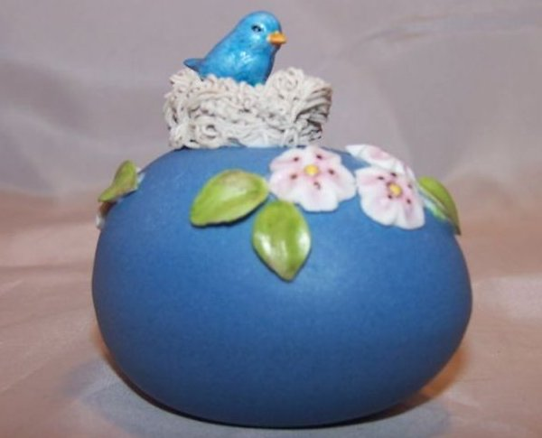 Egg w Nest, Blue Bird, Flowers, Handmade