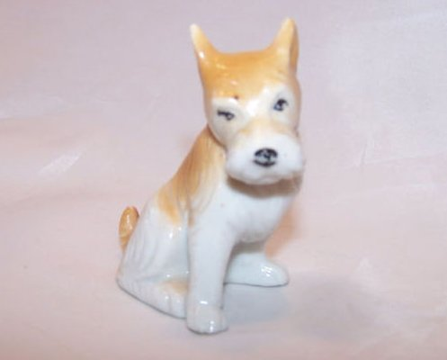 Terrier Dog, Puppy, Brown and White, Vintage Japan Japanese