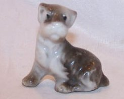 Dog Puppy, White and Gray, Vintage Japan Japanese