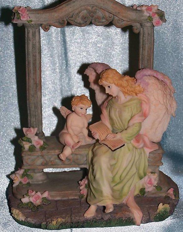 Music Box Angel and Cherub in Garden