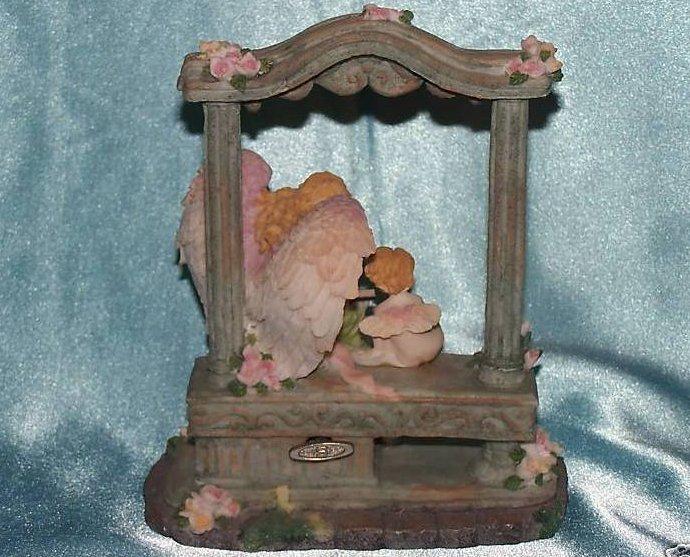 Image 1 of Music Box Angel and Cherub in Garden