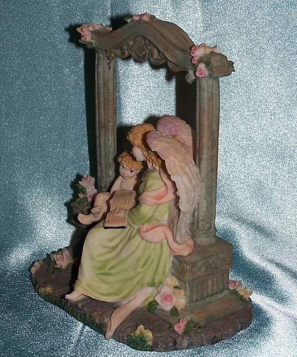 Image 2 of Music Box Angel and Cherub in Garden