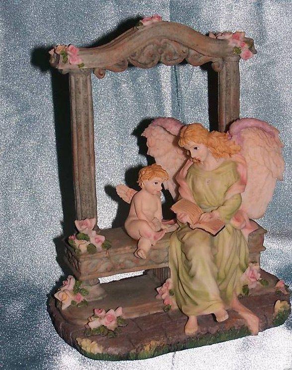 Image 3 of Music Box Angel and Cherub in Garden