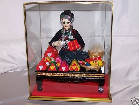 Oriental Seamstress Doll in Case