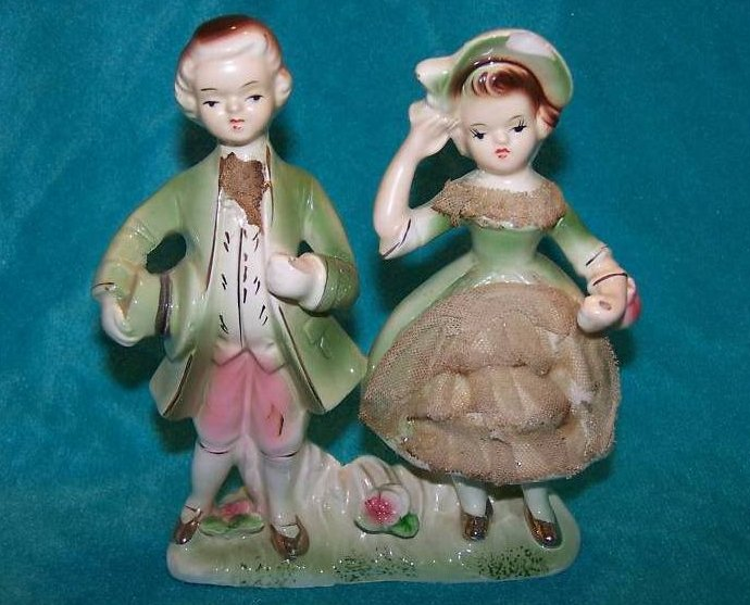 Colonial Couple Porcelain Figurine w Lace, Gold, Vintage