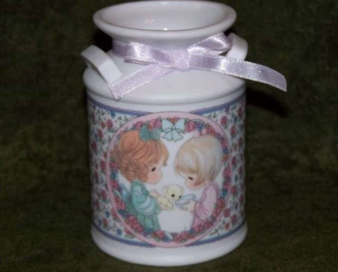Precious Moments Kitten Milk Can, Vase, Pencil Cup